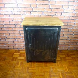 Small Cabinet Industrial Furniture - Wood Top - ISC001