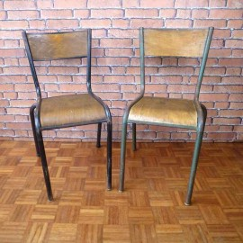 Chaises d'Ecole Mullca - Decoration Vintage - Lot de 2 - VMC002