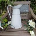 Vintage Enamel Jar - Gold and White