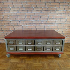Coffee Table - Industrial Furniture - 12 Drawers - ICT003