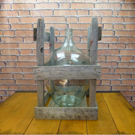 "Antique Demijohn - ""Dame Jeanne"" in wooden crate"