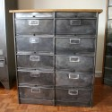 Industrial Filling Cabinet with wooden top
