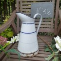 Vintage Enamel Jar - White and Blue